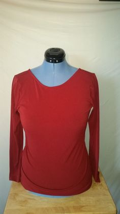 Womens Bisou Bisou by Michele Bohbot Red Long Sleeve Blouse Medium M  #BISOUBISOU #Blouse