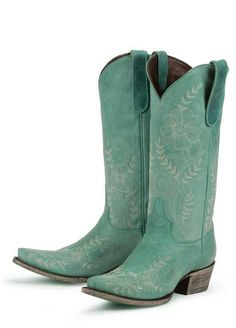 teal western boots for women