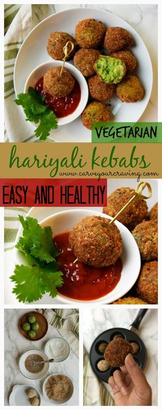 Veg hariyali kebabs not deep fried / Healthy easy Indian appetizer recipe Veg Appetizers, Indian Appetizers, Appetizers For Party, Appetizer Recipes, Appetizer Ideas, Appetisers, Easy Snacks, Healthy Snacks, Easy Meals