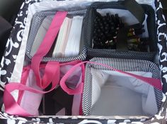 Compartmentalize your large utility tote with littles carry alls! What a great idea!