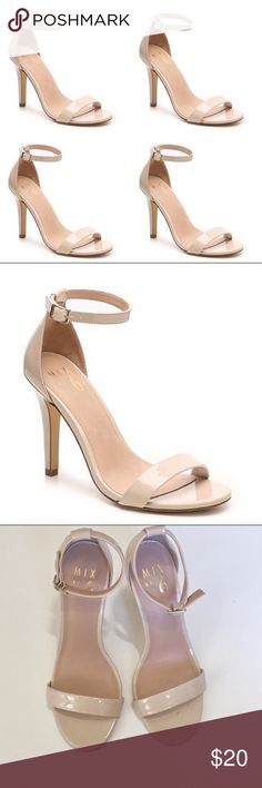"""🆕 Perfect Lina Patent Nude Heels With a chic ankle strap and patent shine, the Lina evening sandal from Mix No. 6 is versatile and a stunning addition to any look!Two-piece faux patent leather upper Ankle strap with adjustable buckle. 3¾"""" covered heel. Synthetic sole. Worn once. Slight scuffing on one of the heels. ✨pair with a dress and jewelry from my closet for a complete outfit✨ I discount bundle✨ Lina Shoes Heels"""