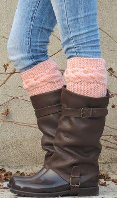 Örme Boot Manşet Kadın - Şeftali Kısa Kablo Örgü Boot Manşetleri. Kısa Bacak Warmers. Oya Boot Manşetleri - Şeftali bacak giysileri - Boot Çorap