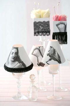 decor, mini lamp, table lamps, craft, glass recreat, candles, wine glass, diy idea, black