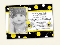 Bumble Bee Birthday Party Invitations by LollipopPrints on Etsy
