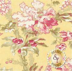 """Whitewashed Cottage 44061-15 Daffodil by 3 Sisters for Moda Fabrics: Whitewashed Cottage is a collection by 3 Sisters for Moda Fabrics. This fabric features large floral bouquets with foliage on a yellow background.Width: 43""""/44""""Material: 100% CottonSwatch Size: 6"""" x 6"""""""