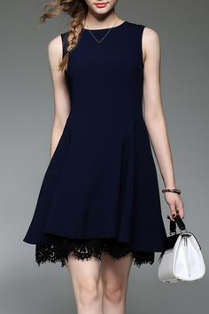 Lace Trim A Line Dress - PURPLISH BLUE L