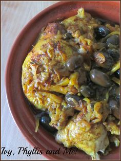 Ivy, Phyllis and Me!: TAGINE OF CHICKEN WITH PRESERVED LEMONS AND KALAMATA OLIVES