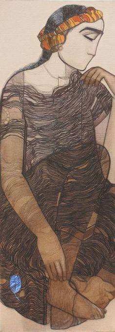Boy I by Siddharth Shingade | Charcoal on Canvas | Size (W x H): 16 x 45 inch