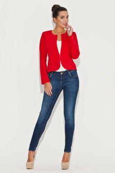f8d5220b0666e Veste casual rouge, manches longues - Mademoiselle Grenade - Veste Rouge  Femme, Veste Blazer
