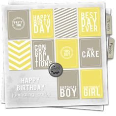 Serendipity Design Freebie: Journaling cards package Happy Birthday free digital scrapbooking printable project life journaling quote cards