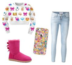 """Emoji👌"" by ashtian22 ❤ liked on Polyvore featuring WithChic, Frame Denim, UGG Australia and Casetify"