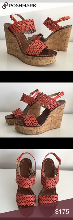 """TORY BURCH DAISY FLORAL PERFORATED WEDGE SANDALS TORY BURCH DAISY FLORAL PERFORATED WEDGE SANDALS IN ORANGE, 5"""" CORK WEDGE, 1.5"""" PLATFORM, STRAP ACROSS TOES AND INSTEP, SLINGBACK ANKLE STRAP, GOLDEN HARDWARE, BRAND NEW WITH BOX AND DUST BAG Tory Burch Shoes Platforms"""