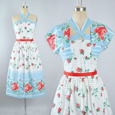 Vintage 50s ROSE Print Dress / 1950s Cotton Sundress Crop