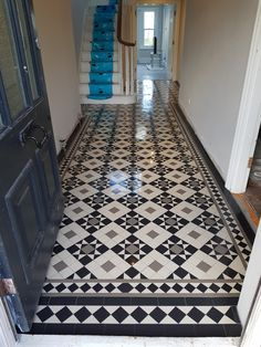 Victorian floor tiles and contemporary geometric ceramic tiles. Specialists in the design and supply of mosaic tile schemes. Victorian Hallway Tiles, Edwardian Hallway, Edwardian House, Victorian Flooring, Victorian Mosaic Tile, Victorian Bathroom, Black And White Hallway, Black And White Flooring, Black And White Tiles