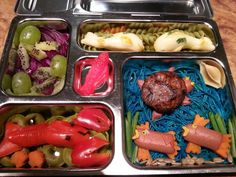 various pastas, Red bell pepper lobster, turkey sausage fish, portobello and turkey sausage turtle,  cheese koi fish, grape and kiwi octopus,  and swedish fish