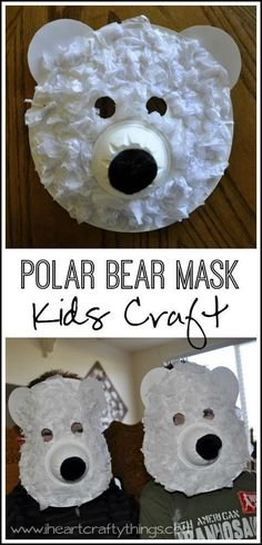 Paper Plate Polar Bear Mask Craft for Kids. Learn about arctic animals and make this fun Polar Bear Mask. Great preschool kids craft. From http://iheartcraftythings.com