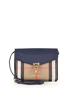 Burberry - Macken Small House Check & Leather Crossbody Bag