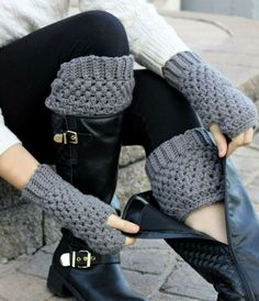 Dark Gray Boot Cuffs w/ Bobble