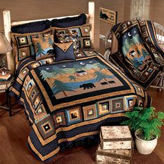 Cabin Quilts, Midnight Bear Rustic Quilt Bedding
