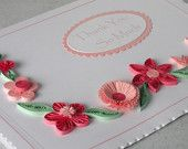 Quilled thank you card, paper quilling flowers, handmade. £6.00, via Etsy.