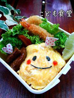 こども食堂's dish photo お子様ランチ弁当 http://snapdish.co #SnapDish #BENTO世界グランプリ2014 #お弁当 #キャラ弁 #オムライス #揚げ物