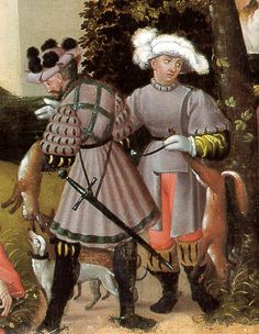 Augsburg Monatsbilder, Spring, Two Hunters (Zwei Jäger)  Hunter on right side, has a side fastening rock that buttons on the shoulder.