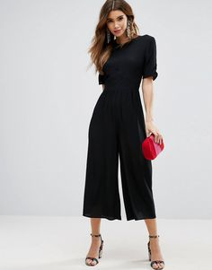 Shop ASOS DESIGN Tea Jumpsuit with Ruched Sleeve Detail. With a variety of delivery, payment and return options available, shopping with ASOS is easy and secure. Shop with ASOS today. Jumpsuit Outfit, Black Jumpsuit, Denim Jumpsuit, Petite Jumpsuit, Jumpsuit With Sleeves, Mode Chic, Black Women Fashion, Classy Fashion, Short Girl Fashion