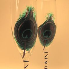 Peacock Feather Flutes / 2 by svcalligraphy on Etsy, $40.00