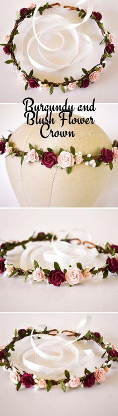 Burgundy and Blush Flower Crown for Wedding #wedding #weddingideas #ad