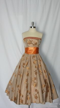 50's autumn tea length dress - I love this for a fall event. With a little bolero? Stunning.