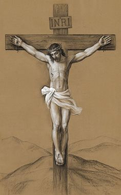 """Charcoal heightened with white on brown paper, Christ Crucified is a drawing depicting the Crucifixion of Jesus. """"For I determined not to know any thing among you, save Jesus Christ, and him crucified. Jesus Christ Drawing, Jesus Christ Painting, Jesus Drawings, Jesus Art, Jesus On Cross Tattoo, Christ Tattoo, Jesus Tattoo, Jesus Christ Crucified, Crucifixion Of Jesus"""