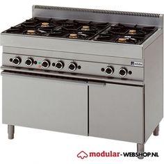 Modular Gas 6-pits fornuis - elektrische oven