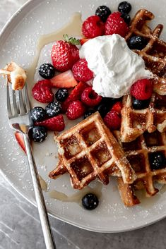 food goals yeasty overnight waffles on fork recipe from cooking with cocktail rings Food Porn, Tumblr Food, Food Goals, Waffle Recipes, Aesthetic Food, Food Cravings, Sweet Recipes, Healthy Recipes, Healthy Breakfasts