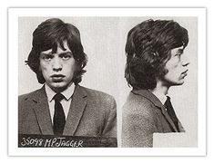 Mick Jagger and Keith Richards were both busted at a party in 1967 for narcotics possession. George Harrison of the Beatles was at the party too and they let him walk. Melanie Hamrick, Keith Richards, Mick Jagger, The Rolling Stones, Georgia May Jagger, Rock And Roll, Celebrity Mugshots, Stone Uk, Black And White Posters