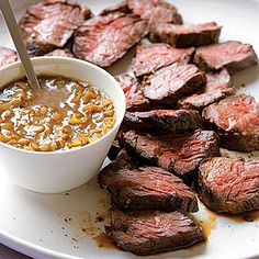 Hanger steak with green garlic sauce....time to grill!
