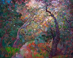 Open Impressionism oil painting landscape of California oaks, by Erin Hanson