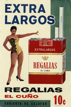 Cuba Regalias El Cuño Cigarettes Advertising Sign 1950s - Havana Collectibles