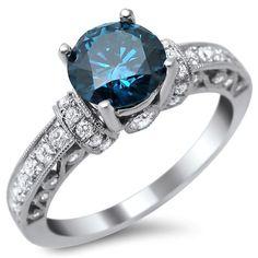 Noori 14k White Gold 1 3/8ct Round Blue and White Diamond Ring (SI1-SI2) (Size 9.5), Women's