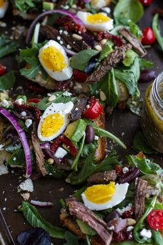 Greek Steak Salad French Bread with Soft Boiled Eggs + Feta by halfbakedharvest #Salad #STeak #Eggs #Feta