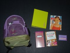 American Girl Purple Backpack Library Card 2 Books Magazine Notebook Lot #AmericanGirl #Accessories