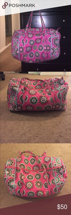 Large Vera Bradley duffel bag This is the large size! Only signs of wear are on the side of the bag there are a few spots (see pics) and the inside has a mark as well but you can't really tell (included a pic of inside) Vera Bradley Bags Travel Bags