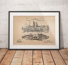 Submarine Locomotive Patent Locomotive Patent Print by dalumna