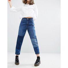 Monki Patch Denim Jeans ($61) ❤ liked on Polyvore featuring jeans, blue, 5 pocket jeans, slim blue jeans, monki, patchwork jeans and patched jeans