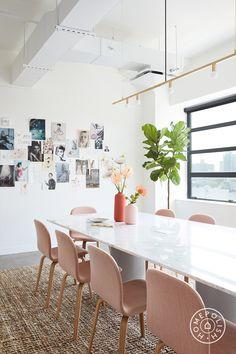 Step Inside Catbird's Ultra-Feminine Brooklyn HQ – Homepolish Office Nyc, Future Office, Office Inspo, Best Interior Design Websites, Brooklyn, Loft, Home Office Decor, Home Decor, Take A Seat