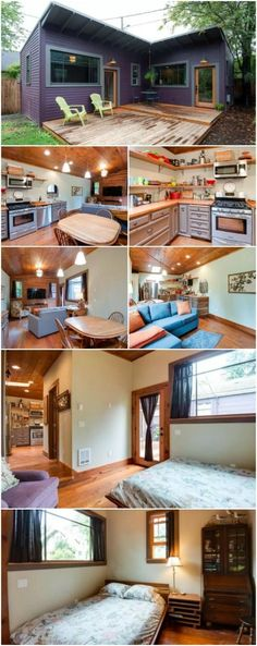"""Brilliantly Clever """"L"""" Shaped Purple Tiny House in Portland - In North Portland, there's a unique purple tiny house with a creative floor plan that we think is a great idea for smaller homes! It's privately owned and no square footage was given, but it's a single-level home with one bedroom and bathroom with a separate kitchen and living room."""