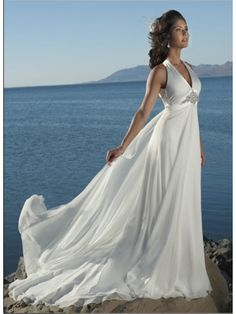 8WDSHOP.CO - Buy 2013 Best Selling Sheath/Column Empire V-neck Chiffon Beach Wedding Dress At Cheap Prices