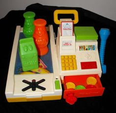 Vintage Fisher Price Cash Register w/Belt & Food Coins Grocery Scanner