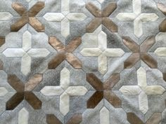LIFESTYLE by Cara - San Isidro cowhide patchwork rug in light grey + taupe + off white