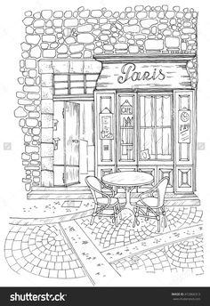 Street In Paris 472866313 Shutterstock Adult ColoringColouringColoring BooksStock PhotosZentanglesBuildingsCityscapesColouring