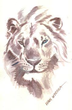 león en acuarela
